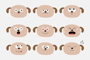 Dog heads with different emotions