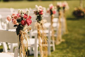 Bows of rope twine pink bouquets