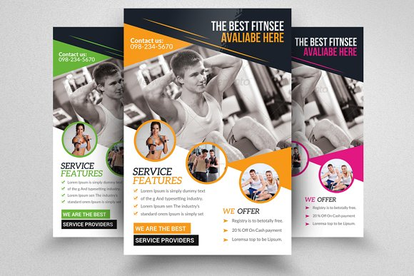 Body Fitness Gym Flyer Flyer Templates Creative Market – Free Fitness Flyer Templates