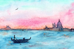 Sunset in Venice, watercolor sketch