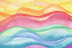 Abstract wave watercolor painting