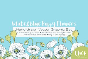 White and Blue Poppies Vector Set