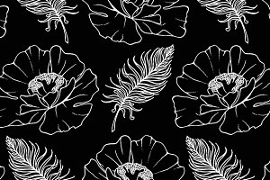 Poppy and feather seamless pattern