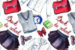 School uniform seamless pattern