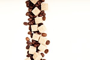 Coffee beans, paper,