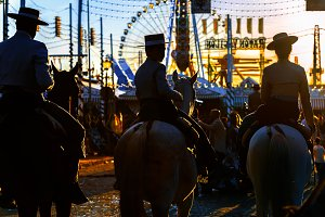 Silhouette of Horse riders at sunset