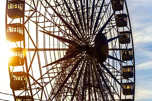 Ferris wheel at sunset.