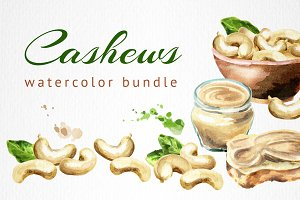 Cashews bundle. Watercolor