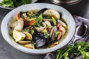 Seafood crabs, shellfish soup