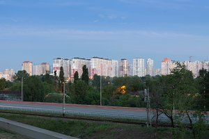 Cityscape. View of the city. Dwelling houses in a row. Kyiv..