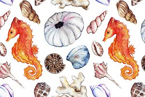 Sea shell seahorse seamless pattern