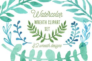 Watercolor Wreath Clipart Set PNG