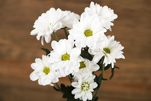 Close-up of flowers on brown wooden background. Daisy flower.