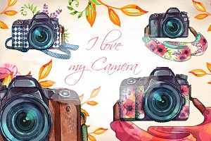 Watercolor Camera Clip Arts