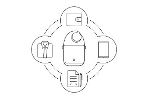 Businessman's bag contents linear icons set