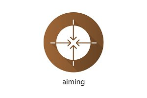 Aiming flat design long shadow icon