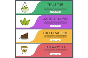 Tea banner templates set