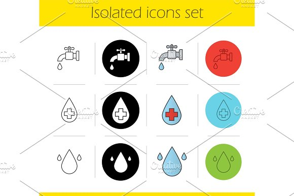 Water Resources Icons Set
