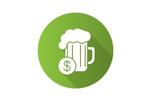 Buy beer flat design long shadow icon
