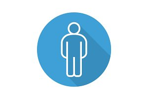 Man flat linear long shadow icon