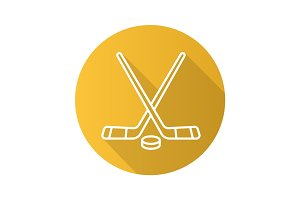 Hockey sticks and puck. Flat linear long shadow icon