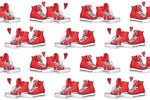 Watercolor sneakers seamless pattern