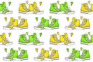 Watercolor sneakers seamless pattern