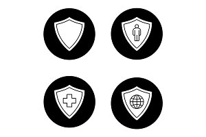 Protection shields icons set