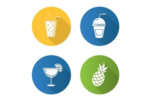 Refreshing drinks flat design long shadow icons set