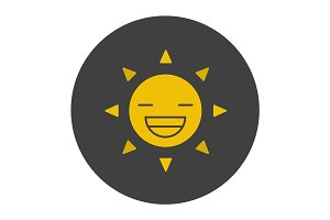 Smiling sun glyph color icon