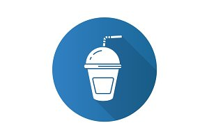 Refreshing soda drink. Flat design long shadow icon