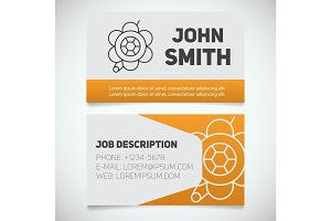 Business card print template with brooch logo