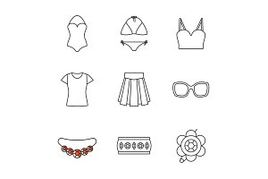 Women's accessories linear icons set