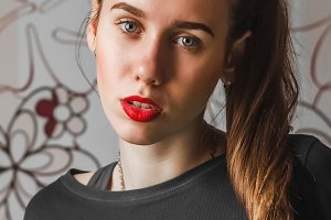 portrait of a girl with red lipstick
