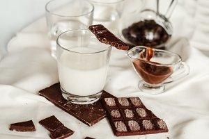 Chocolate and fresh milk, sweet dessert
