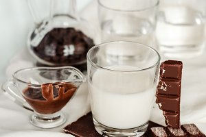 Chocolate with milk and coffee beans