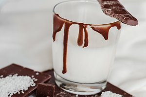 Milk with chocolate for a snack