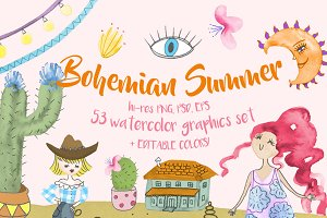 Bohemian Summer Watercolor Set