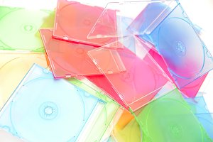 Stack of disks isolated on white