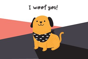 I woof you! cute dog illustration