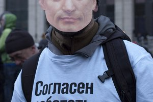 The protester with Putin's mask