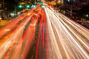 bokeh of Evening traffic jam