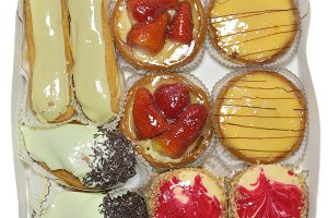 Diversity french pastry with cream