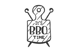 It is bbq time. Hipster logo and emblem of a restaurant barbecue on the background of a cutting board and skewers. Vector templates isolated on white background. Steak house restaurant menu design element.