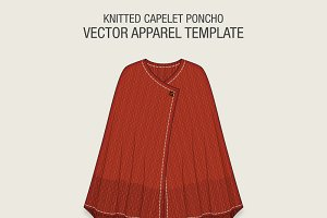 Knitted Capelet Poncho Vector