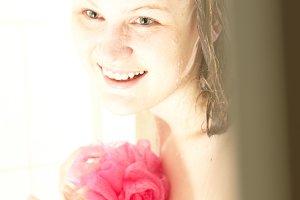 Caucasian female showering