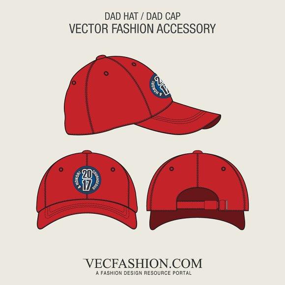 ebf9dbbbabe Dad Hat or Dad Cap Template ~ Illustrations ~ Creative Market