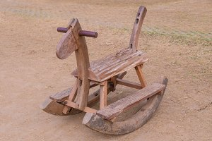 Wood Rocking Horse on playground