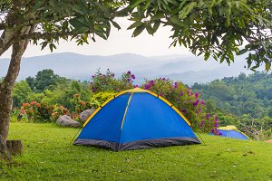 Camping tent in campground