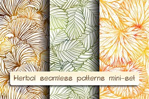 Herbal seamless patterns mini-set